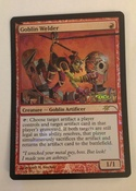 Goblin welder, the first in a series of experiments with my new secret formula for paint on foils, this pop out might as well have been printed onto the card.  Enjoy!  Judge Foil