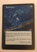 Based on the MTGO Cube/ Vintage Champs artwork, with border extension on Masques Brainstorm.  1/4 of a playset